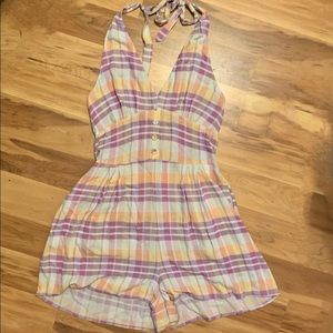 Urban Outfitters Halter Plaid Multicolored Romper